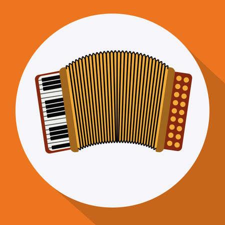 accordion: Music accordion design over orange background