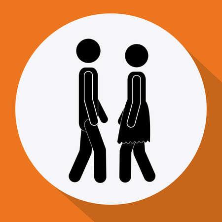 heterosexuality: Couple design over orange background