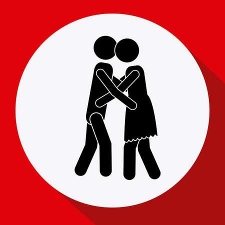 heterosexuality: Couple design over red background
