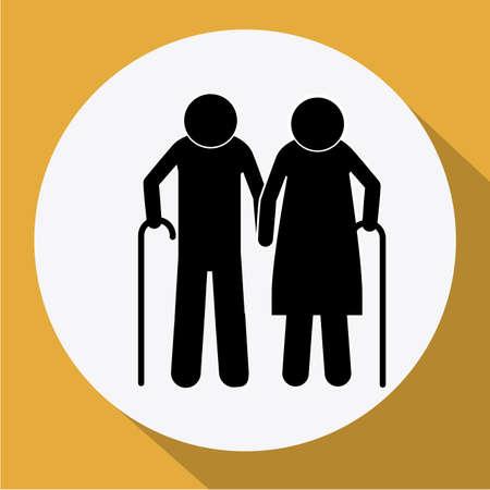 heterosexuality: Elders design over yellow background