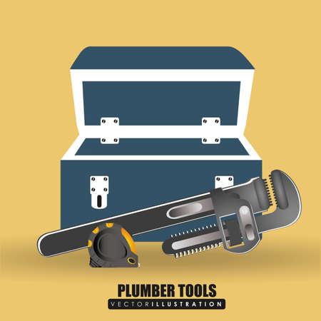 plumber with tools: Herramientas de dise�o fontanero sobre fondo amarillo Vectores