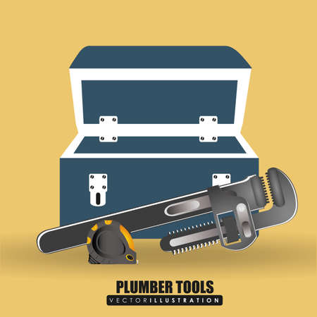 plumber tools: Plumber Tools design over yellow background