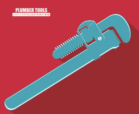 plumber tools: Plumber Tools design over red background