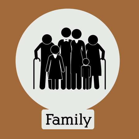 familiar: Family design over brown background, vector illustration. Illustration