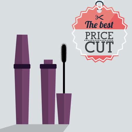 make over: make up desing over gray background, vector illustration Illustration