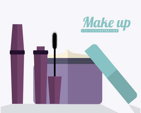make over: make up desing over white background, vector illustration