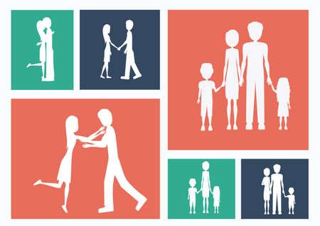 familiy: Familiy, desing over colors background, vector illustration.