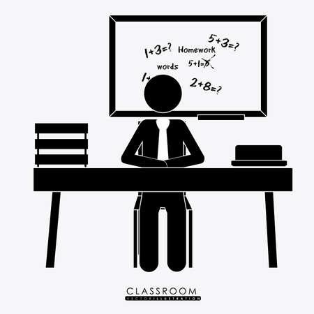 salle classe: salle de classe, desing sur fond blanc, illustration vectorielle