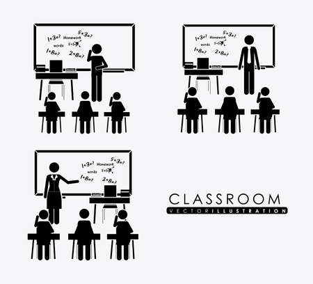 class room: class room, desing over, white background, vector illustration. Illustration