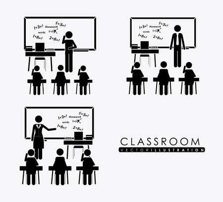 salle classe: salle de classe, desing plus, fond blanc, illustration vectorielle. Illustration