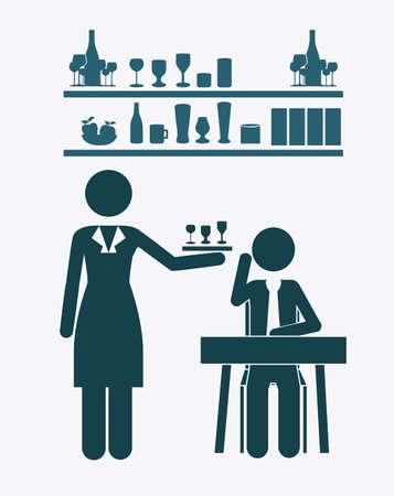 socialize: bar, desing over, white background Illustration