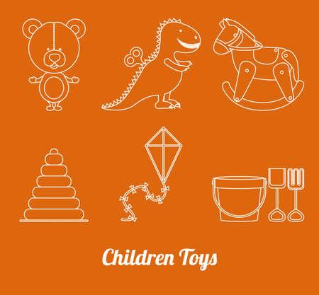 boy, toys, desing over orange background, vector illustration. Vector