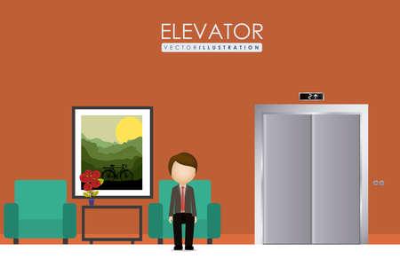 elevator, up, down, desing over, ligth pink color background, vector illustration.