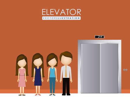 up and down: elevator, up, down, desing over, dark orange background, vector illustration. Illustration
