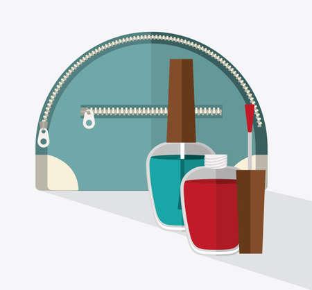 vanity bag: make up desing over white background, vector illustration