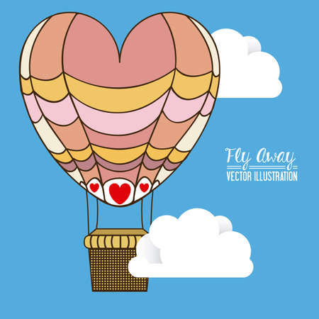 away travel: air balloon desing over, colors, background, vector illustration.