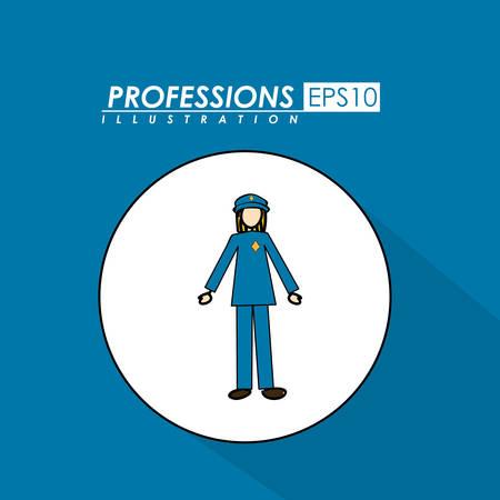 profesiones: Profesiones, desing del sobre, fondo azul,