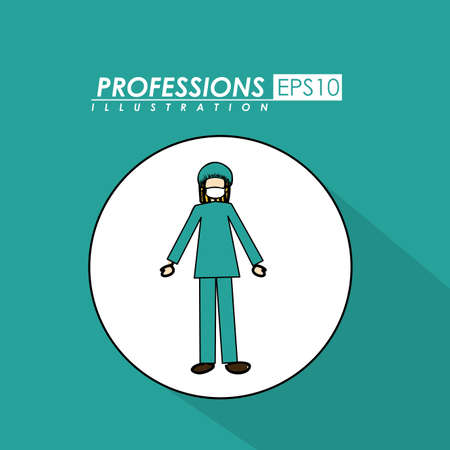 Professions, desing over, blue  background, Vector