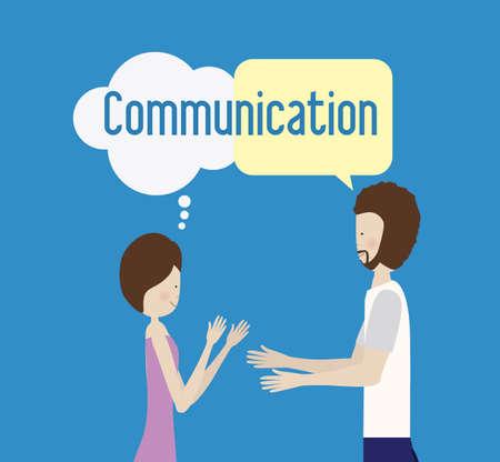 communicate, talk, desing over, blue background, vector illustration