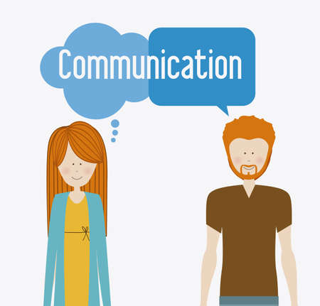 clound: Communication design, man and woman, vector illustration