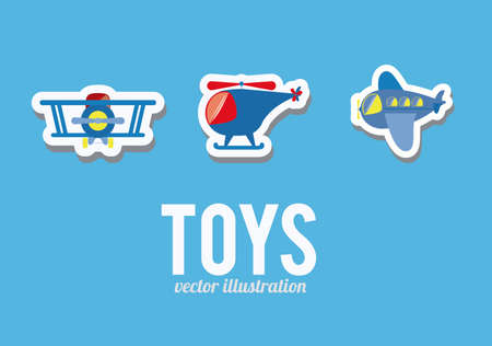 boy, toys, desing over blue background, vector illustration. Vector