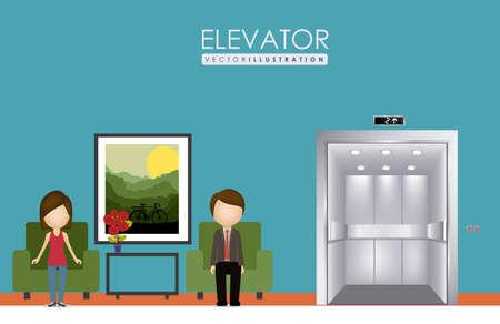 r transportation: elevator, up, down, desing over, white blue background, vector illustration.