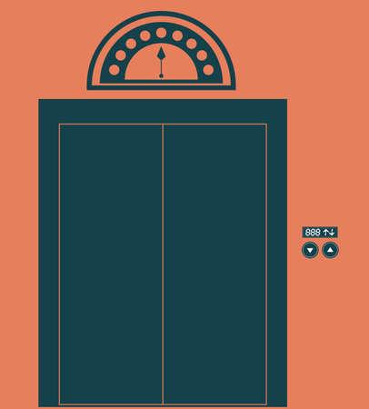 r transportation: elevator, up, down, desing over, white ligth pink  background, vector illustration.