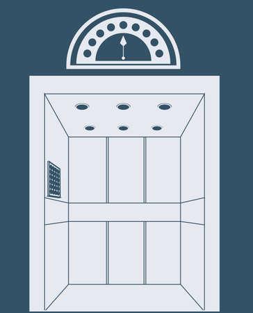 r transportation: elevator, up, down, desing over, dark; blue. background, vector illustration. Illustration