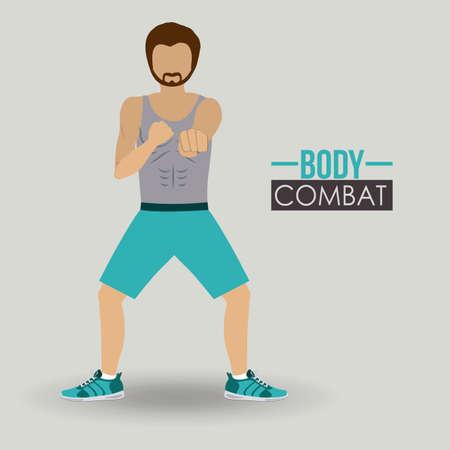 Body combat sport design, vector illustration.