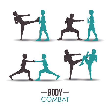 couple fight: Body combat sport design, vector illustration. Illustration