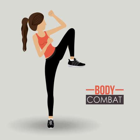 women exercise: Body combat sport design, vector illustration. Illustration