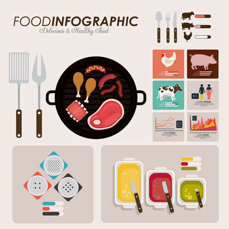 menu elements: Food infographic design, vector illutration
