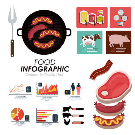 documents: Food infographic design, vector illutration
