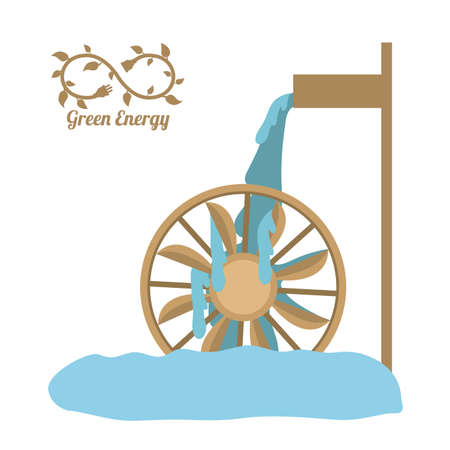 molino de agua: Diseño verde de la energía, ilustración vectorial