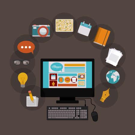 Blogger conception, illustration vectorielle