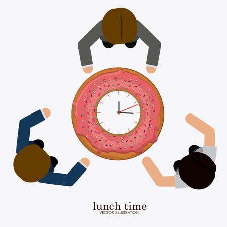 backgrund: lunch time desing over, white backgrund, vector illustration. Illustration