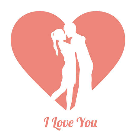 two hearts together: Love design over pink vector illustration.