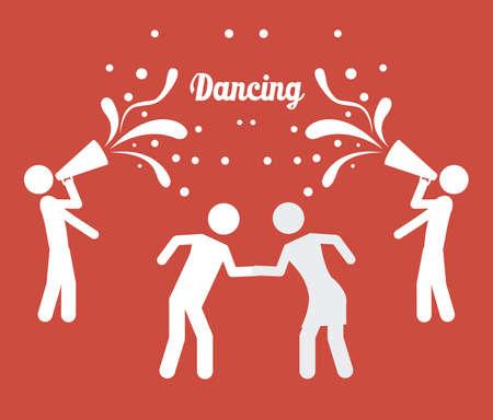 serenading: Singing and dancing icons, vector illustration