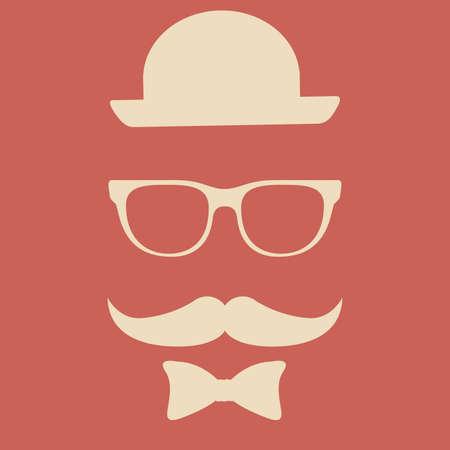 mister: Hipster design over red  background, vector illustration.