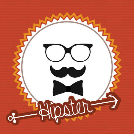 mister: Hipster design over orange background, vector illustration.