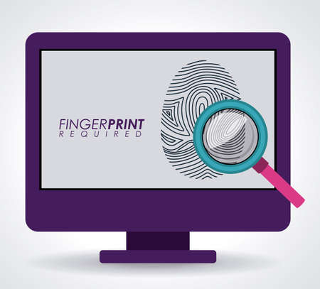 fingermark: FingerPrint design over white background, vector illustration