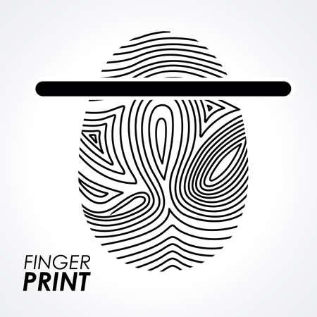 thumbprint: FingerPrint design over white background, vector illustration