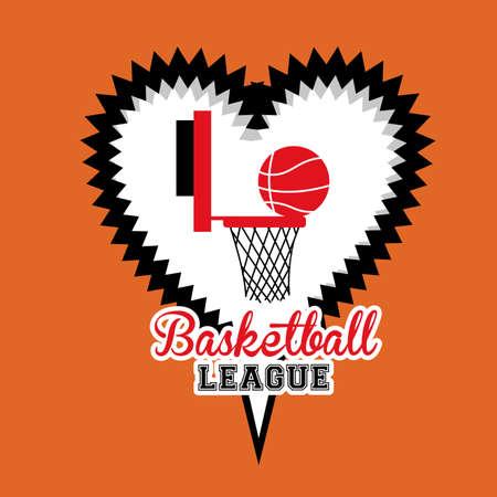 comunication: basketball desing over orange bacground vector illustration.