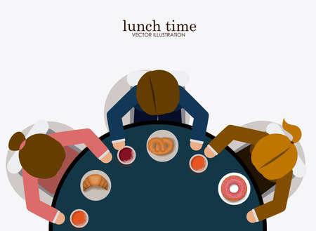 almuerzo: la hora del almuerzo desing del sobre, backgrund blanco, ilustraci�n vectorial. Vectores
