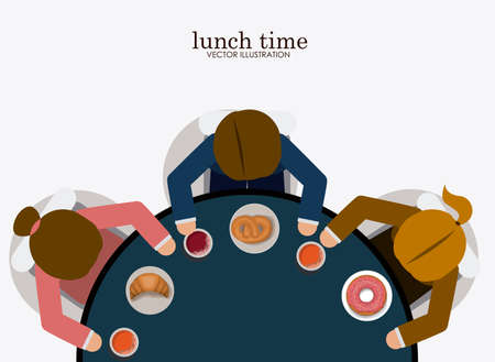lunch table: lunch time desing over, white backgrund, vector illustration. Illustration
