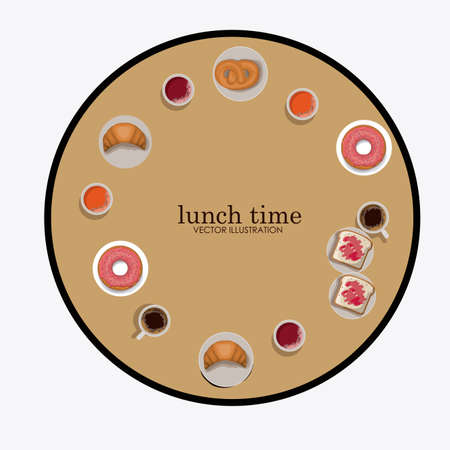 friends eating: lunch time desing over, white backgrund, vector illustration. Illustration