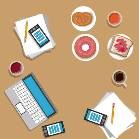 lunch time desing over, ligth brown backgrund, vector illustration.