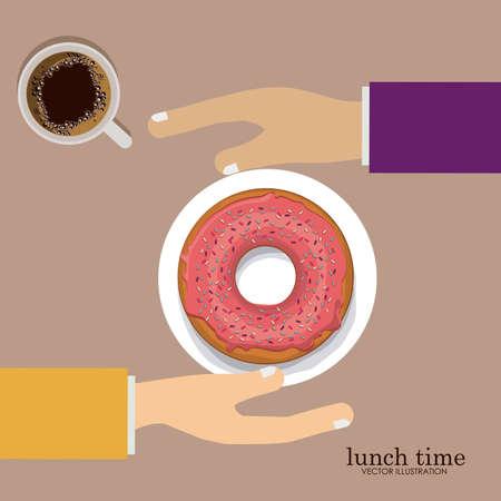 backgrund: lunch time desing over, ligth pink backgrund, vector illustration. Illustration