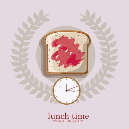 gray backgrund: lunch time desing over, ligth gray backgrund, vector illustration.