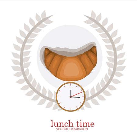 second breakfast: lunch time desing over, white backgrund, vector illustration. Illustration